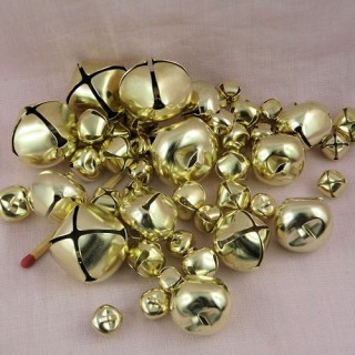 Set 43 Metallic assorted jingle bells gold