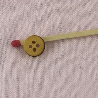 Bouton rond bois véritable 1 cm.