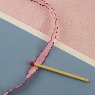 Ruban rose à bordure 7 mm.