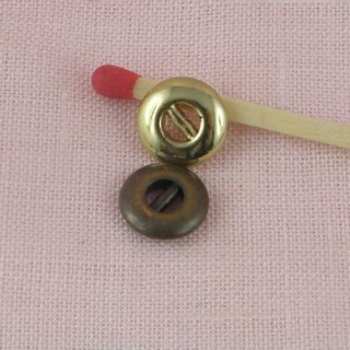 Metallic button, two parts, doll repair, 9mm
