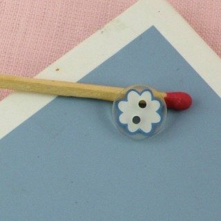 Round button two holes with printed flower 10 mms.