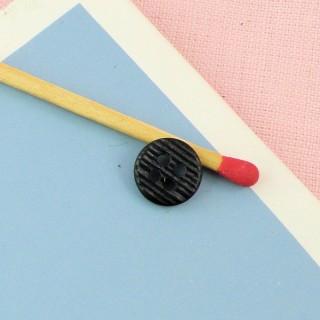 Bouton mercerie rond motif imprimé écossais 1 cm.