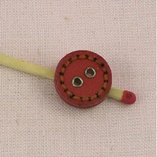 Bouton cuir rond surpiqué 2 trous 15 mm