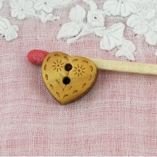 Knopf Herz der geritzte Holz 12 mm