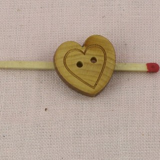 Wooden Button heart carved heart 17 mms