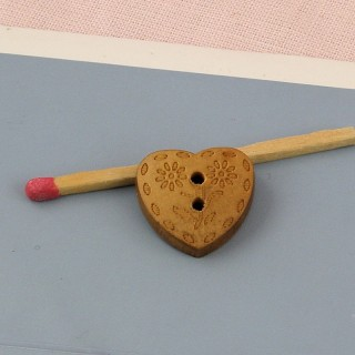 Wooden Button heart shape carved 17 mms