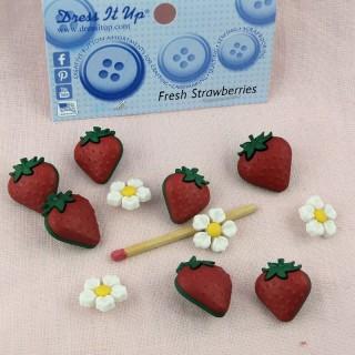 Boutons fraises fruits Dress it Up