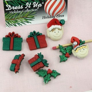 Dress it Up buttons Christmass elves.