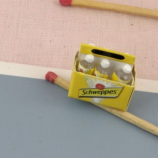 Pack botellas de Schweppes miniatura casa muñeca