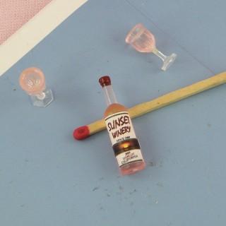 Botella vino rosado copas miniatura casa muñeca