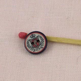 Botón escudo escudo nacarado 2 hoyos 1 cm