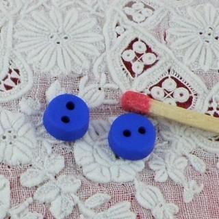 Round Button 6 mms 2 holes bulging, convex,