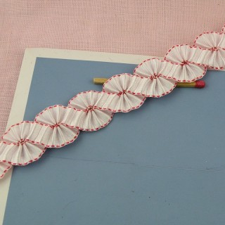 Double face flounced ribbon 18 mm, 1,8 cm.