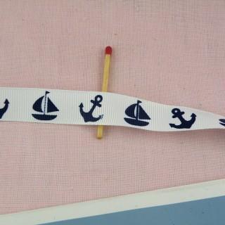 Kleine Boote Ripsband Streifen 15 mm.