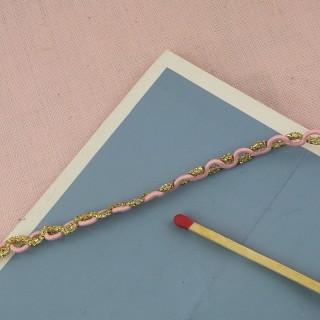 Gimp pink and metallic gold 1 cm,