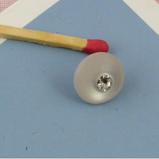 Bouton rond nacré à pied avec strass 9 mm
