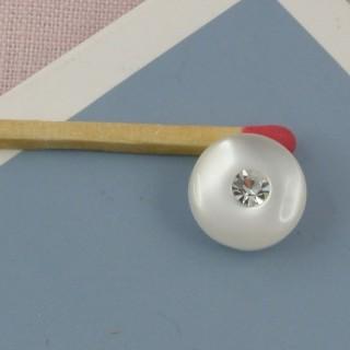 Bouton rond nacré à pied avec strass 11 mm