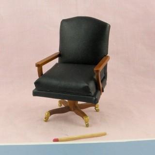 Fauteuil bureau miniature cuir maison de poupée