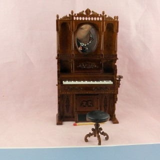 wallnut harmonium miniature for doll house.