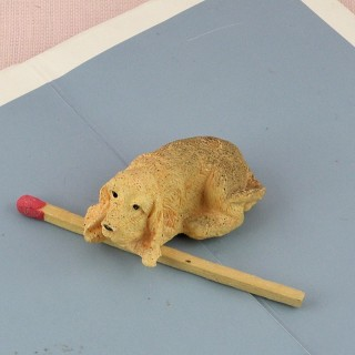 Plastic cocker dog dollhouse animal miniature 2 cm,