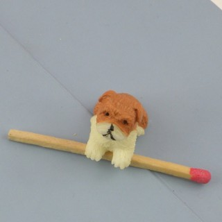 Plastic Boxer dog dollhouse animal miniature 2 cm,