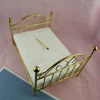 Brass bed miniature furniture for dollhouse.