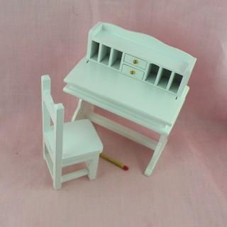 Oficina pupitre miniatura con silla casa de muñecas