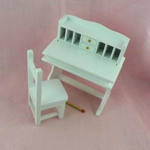 Bureau pupitre miniature avec chaise maison de poupée
