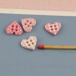 Buttons heart PINK polka dots