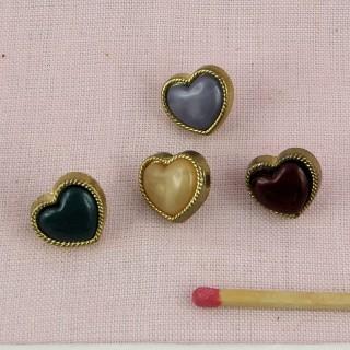 Bouton coeur nacré pied doré 13 mm.