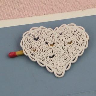 Botón corazón 4 cm enorme, extra llano, encaje fino.
