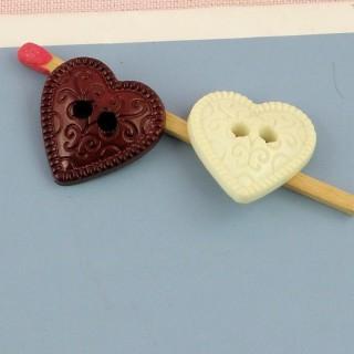 Botones corazón grabados 16 mm