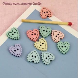 10 Flat Buttons heart scaloped 12 mms