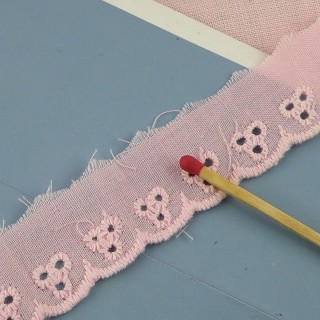 Flat Eyelet cotton, with holes, 10 mms sell by meter.