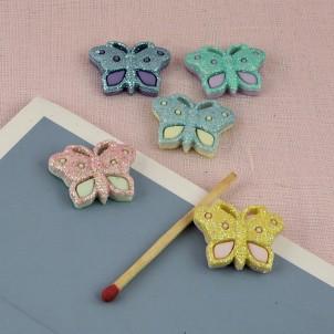 Bouton décoration papillon insecte 2 cm