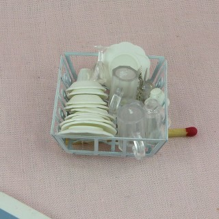Metal dish drainer with plates doll house miniature