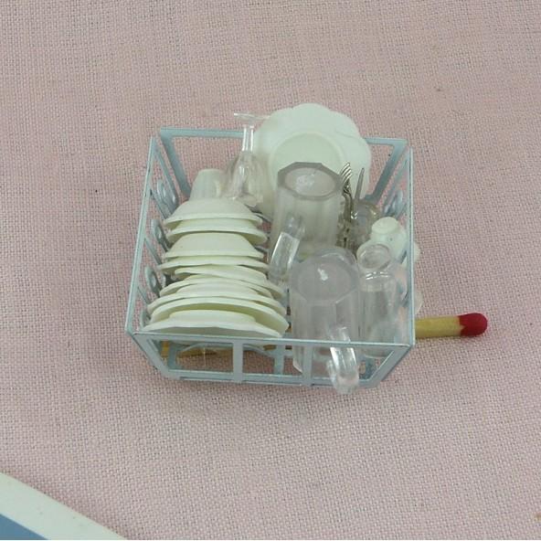 7c64c08aca3cb6 Egouttoir avec vaisselle miniature maison poupée 4 cm