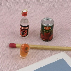 Vodka bottle miniature with one full glasse and tomato juice