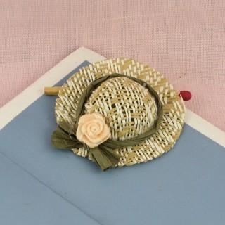 Chapeau paille miniature maison poupée 4 cm.