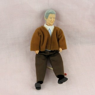 Miniature old man shopkeeper doll 1/12, luxurous and articuled