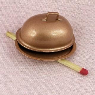Plato cubierto miniatura en cobre miniatura muñeca.