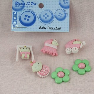 Buttons Dress it up, baby girls pink, .