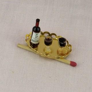 Tablett Miniaturflasche und Gläser Puppenhaus.