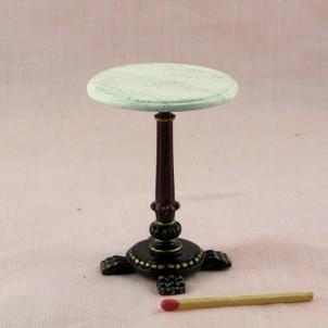 Table ronde bar rétro bistrot miniature maison de poupée ,marbre