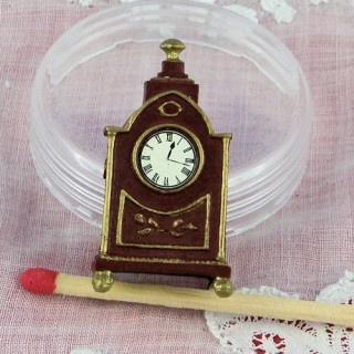 Metal mantel clock miniature for dollhouse 3 cm