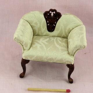 Armchair miniature mahogany  , doll house living room