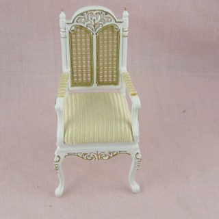 Miniature armchair painted with cane-bottoming for doll's house.