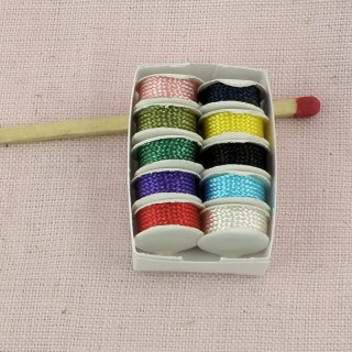 Small sewing box for doll miniature tray of trims