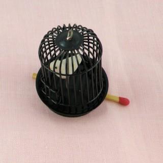 Cage avec oiseau miniature maison poupée,