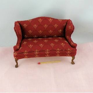 Lodi red stripe sofa miniature furniture doll house furniture